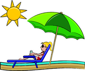 Summer Vacation Clipart Image Stick Girl In A Lounger At The Beach