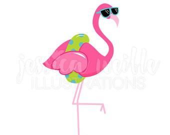 Sunglasses Flamingo Cute Digital Clipart, Cute Flamingo Clip art, Tropical Summer Graphics, Flamingo in a Floatie Illustration, #381