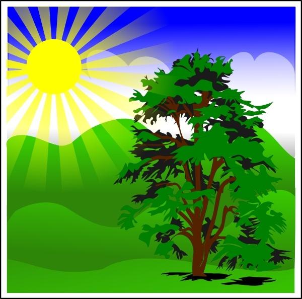 Sunny Spring With Blue Sky clip art