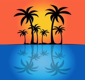 Sunset island clipart image silhouette of palm trees on a tropical
