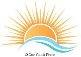 Sunset Over Water Clipart #1