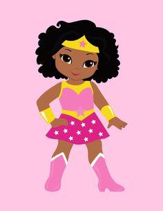 Girls Superhero clip art, Supergirl clipart, African american. u0027