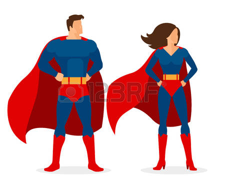 Superman and superwoman vector characters in flat style over white  background