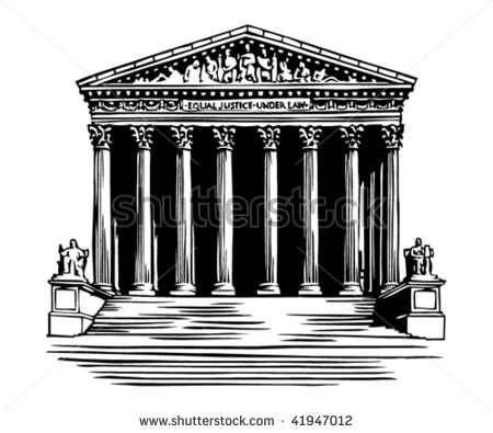 Supreme Court Building In Washington Dc Stock Vector Illustration