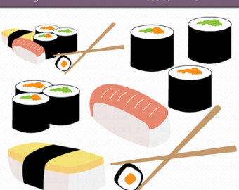Sushi Digital Art Set Clipart Commercial Use Clip Art Instant Download Sushi Clipart Japanese Clipart Food Clipart
