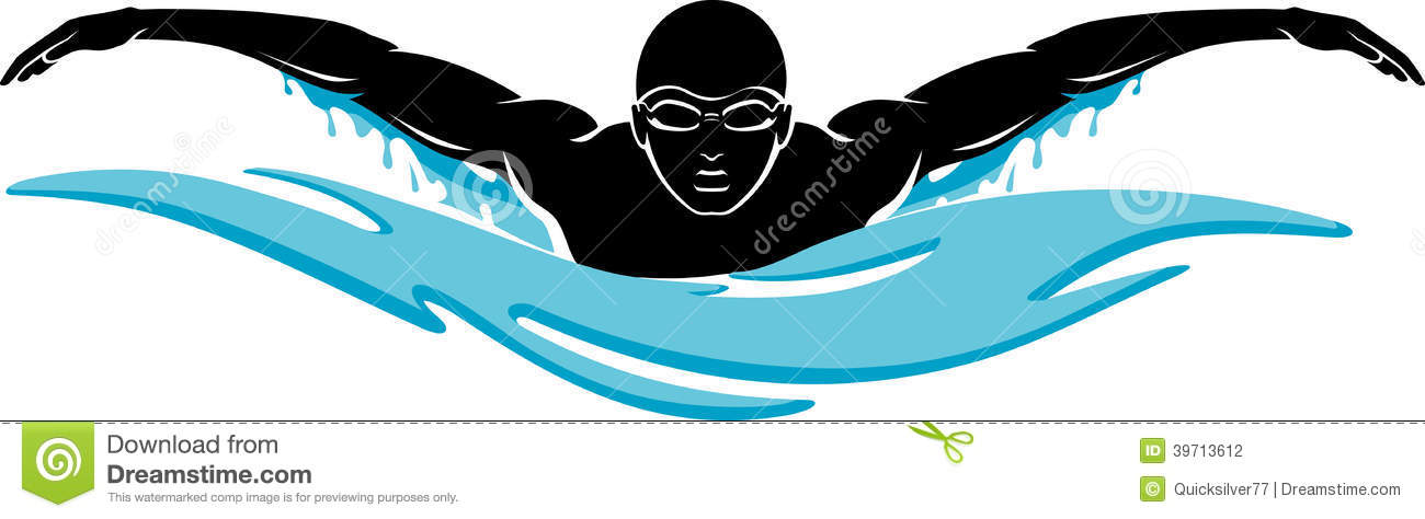 Swimmer Silhouette On An ..