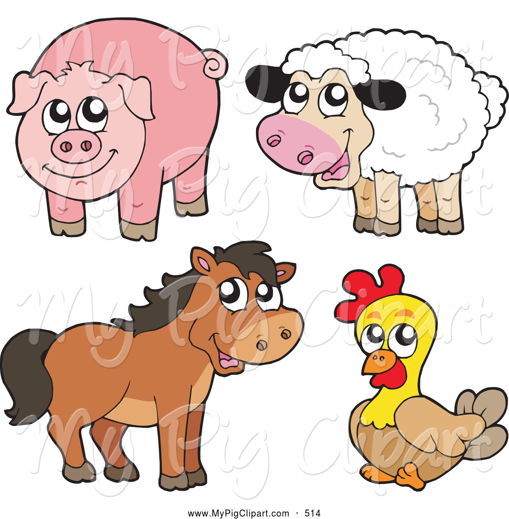 Swine Clipart Of A Farm Animal Group Cute Sheep Pig Horse And