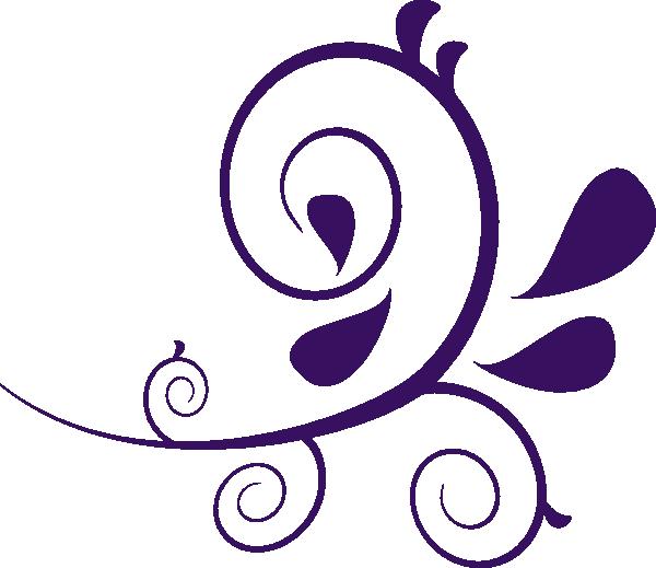 Flower Swirl Clip Art | Purple Swirl Without Dots clip art - vector .
