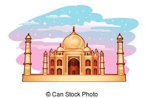 ... Taj Mahal - Illustration of Taj Mahal with blue purple sky Taj Mahal Clipartby ...