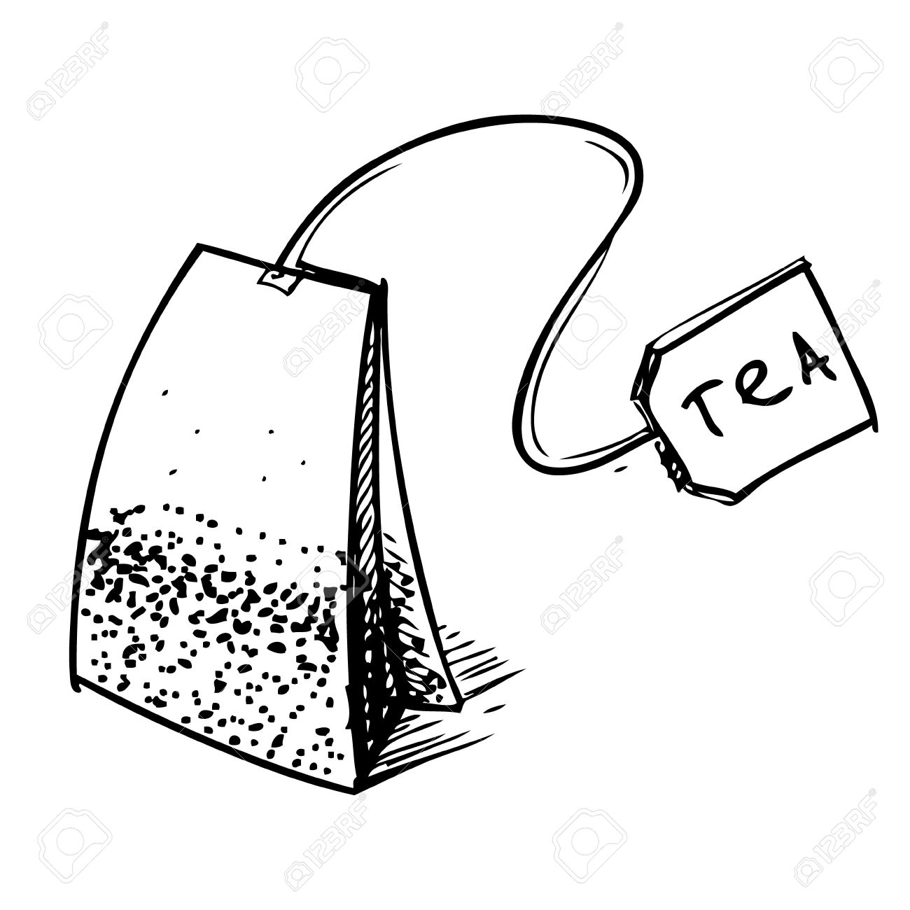Tea bag with label Stock .