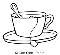 ... Tea Cup - Black and White Cartoon illustration, Vector