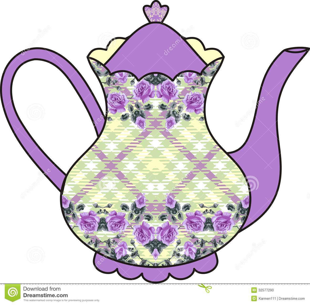Tea Time Clip Art Floral Roses Teapot Time For