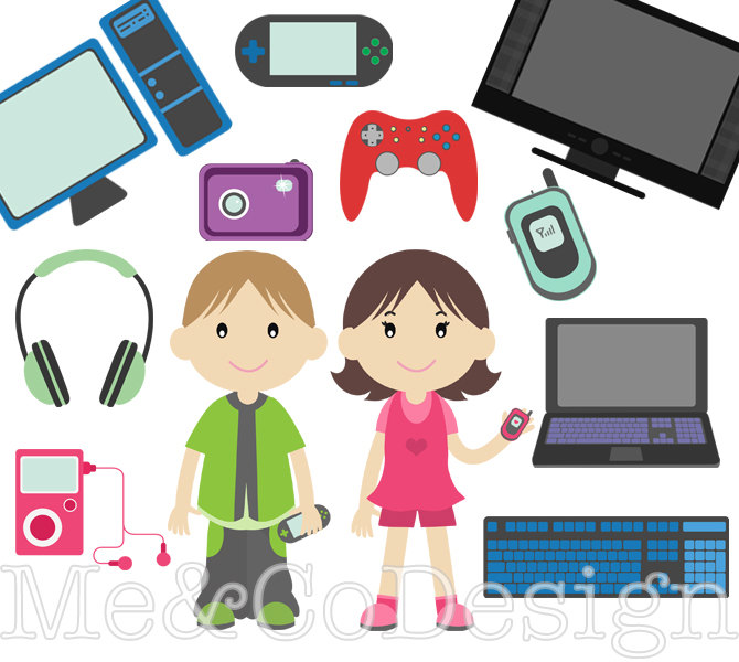 Techno Kids Clipart, Fun Tech Clipart, Accessory Clipart Instant Download, Personal and Commercial Use Clipart, Digital Clip Art