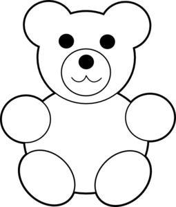 teddy bear clipart black and white