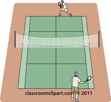 Tennis Clipart Players On Grass Tennis Court Classroom Clipart
