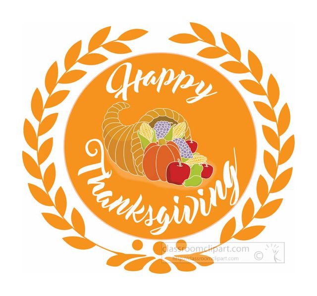A Happy Thanksgiving Wreath With A Horn Of Plenty. Classroom Clipart