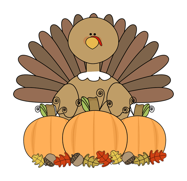 A turkey with pumpkins