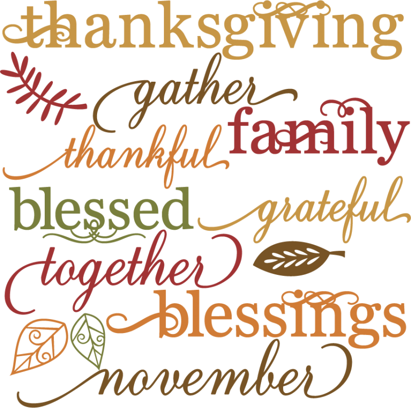 Thanksgiving Words Set Svg Cut Files For Scrapbooking Thanksgiving