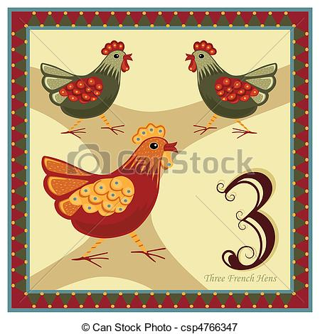 The 12 Days of Christmas - 3-rd day - Three French Hens.