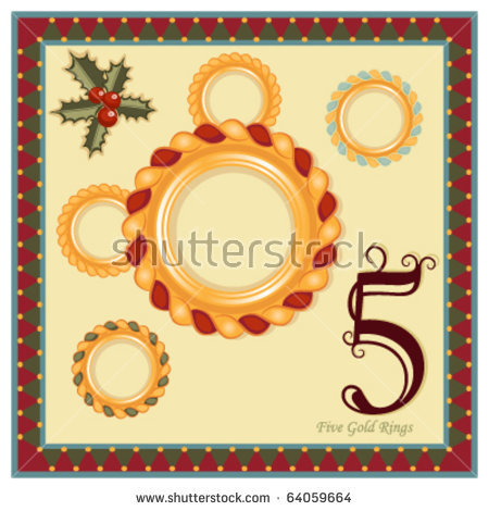 The 12 Days of Christmas - 5th Day - Five Gold Rings Vector illustration saved as