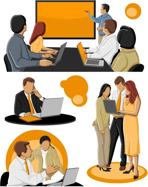 the cartoon business people vector
