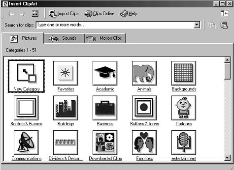 The Insert Clip Art dialogue  - Microsoft Clip Art