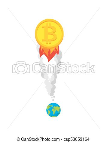 Bitcoin Rocket. Growth Of Price Of Crypto Currency. Witcher Illustration