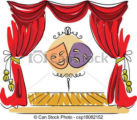 ... Theater stage vector illustration - Theater stage with red.