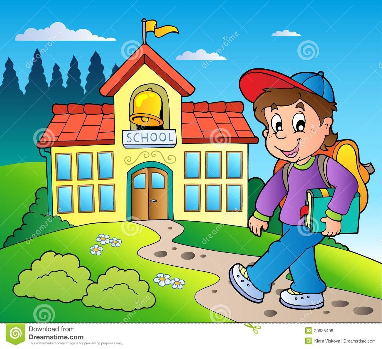 Theme with big school building. School Clipart Clipart Best