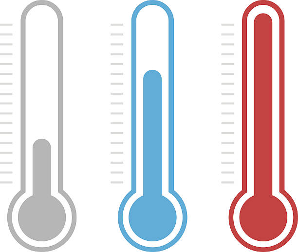Isolated thermometers in different colors vector art illustration