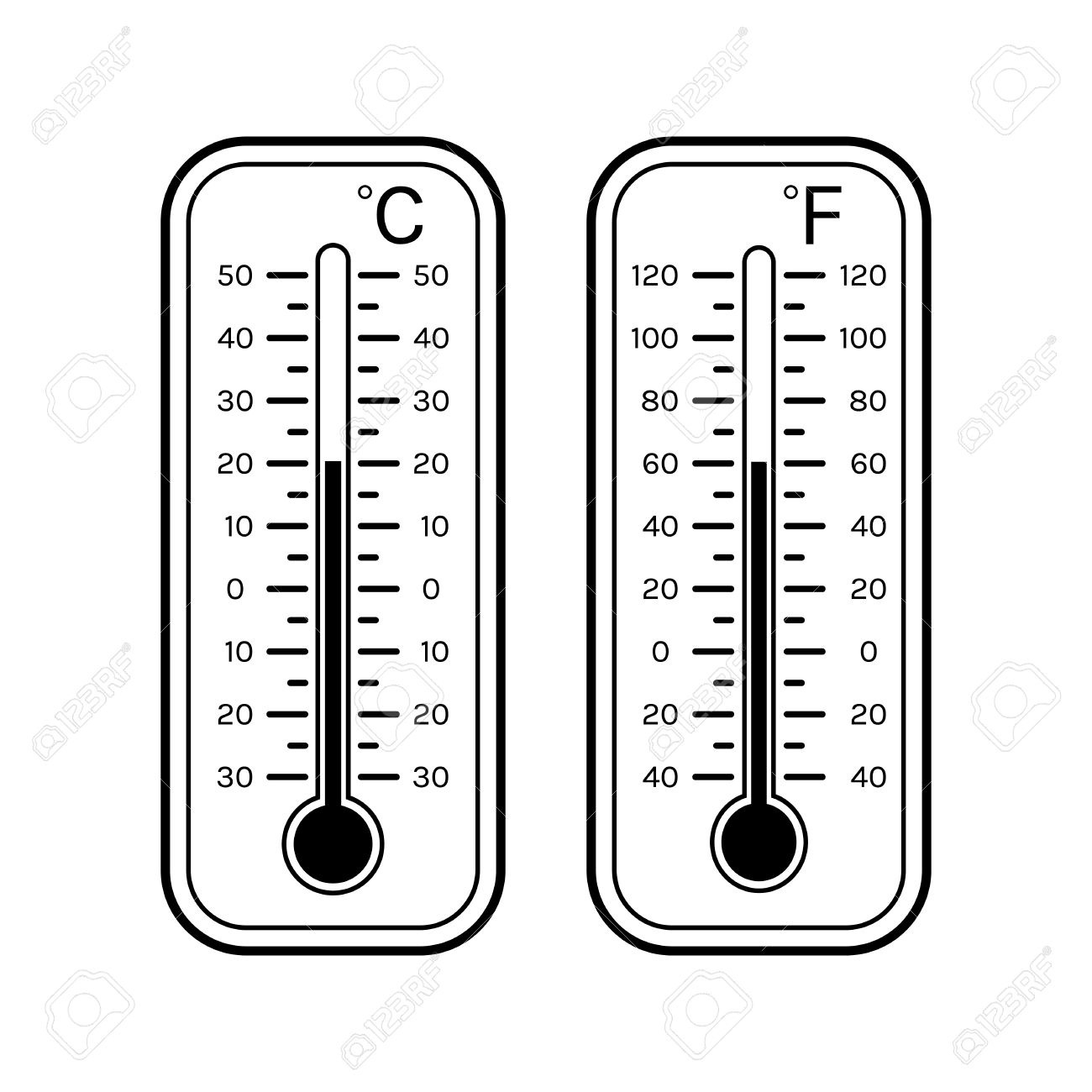 Linear Flat Icons Of Thermometers For Weather. Scale Celsius for Thermometer  Clipart Black And White
