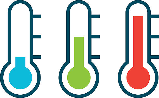 Vector different thermometer shows of cold heat and comfort temperature  vector art illustration