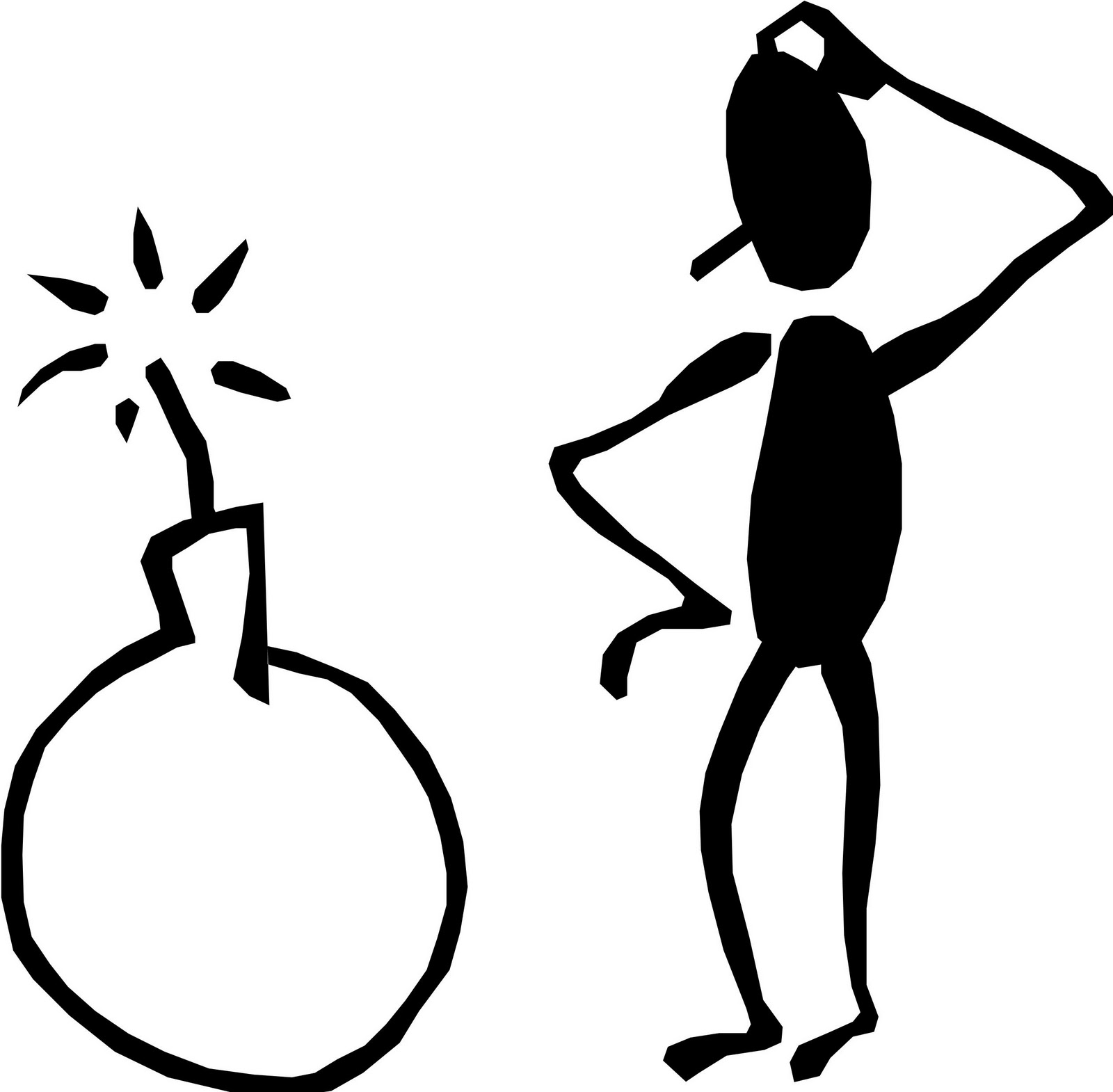 Thinking stick figure clipart clipart