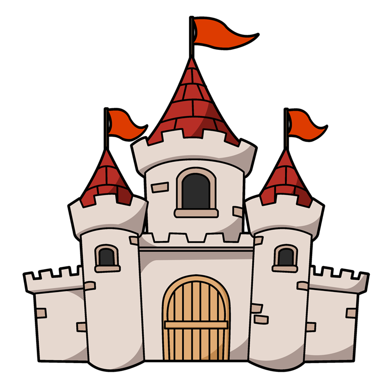 This cartoon castle clip art is perfect for use on your fairy-tale projects, storybook illustrations, scrapbooks, videos, websites, school projects, etc.