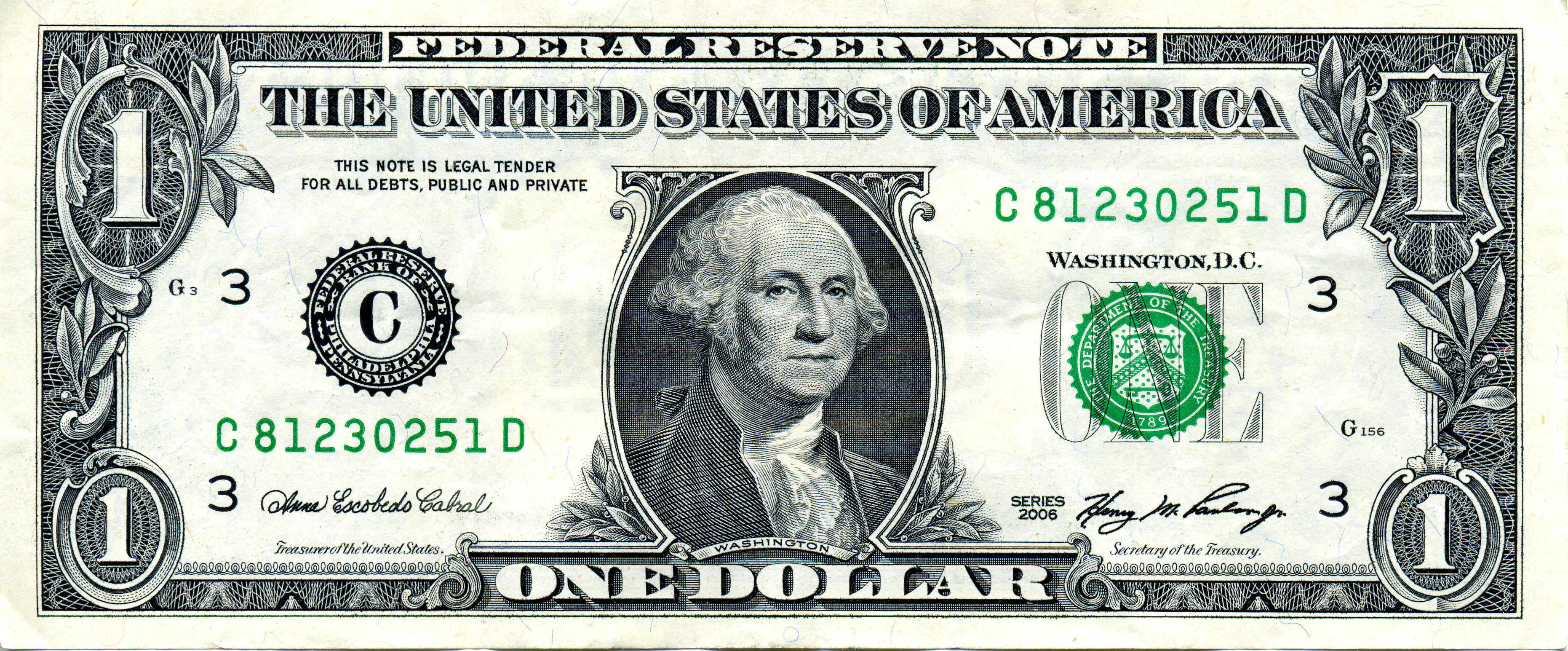 This is a one-dollar bill.
