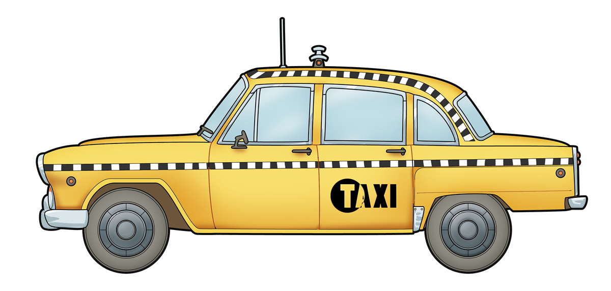 This nice clip art of a taxi .