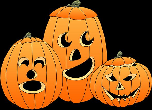 three Halloween pumpkins ...