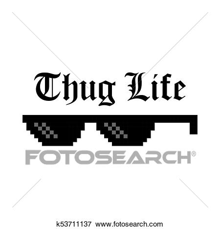 Clip Art - Creative vector illustration of pixel glasses of thug life meme  isolated on transparent