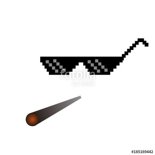 glasses pixel vector icon Pixel Art Glasses of Thug Life Meme and smoke -  Isolated on