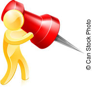 ... Thumb tack person - A person holding a huge thumb tack or.