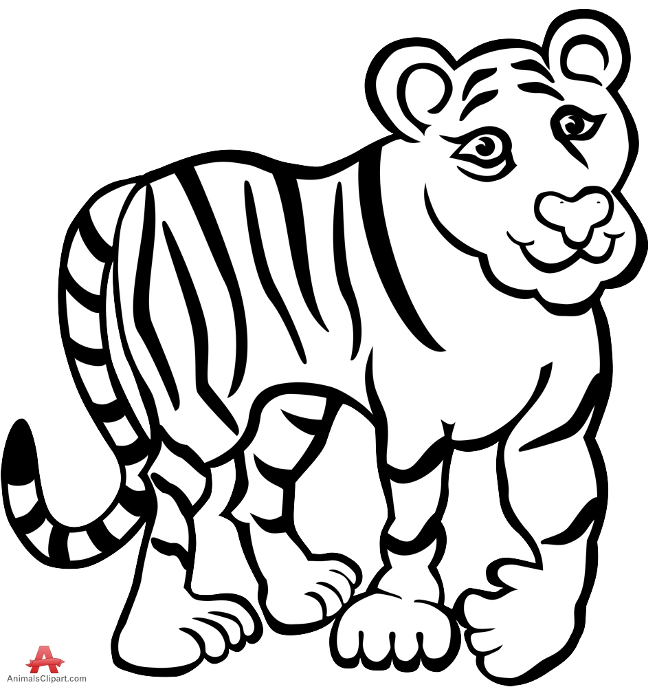 Tiger black and white tiger clipart in black and white free design download