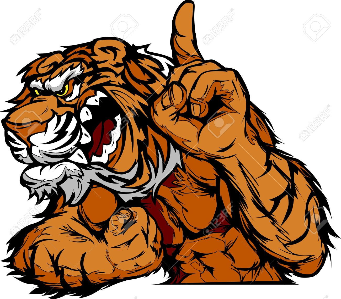 Cartoon Vector Mascot Image of a Tiger Flexing Arms and Holding up Champion  Finger