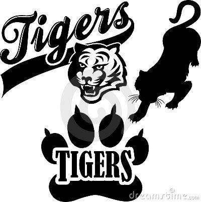 Tiger Mascot Black And White Tiger Team Mascot Eps 15292093 Jpg