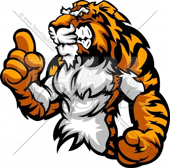 Tiger Mascot Holding up .