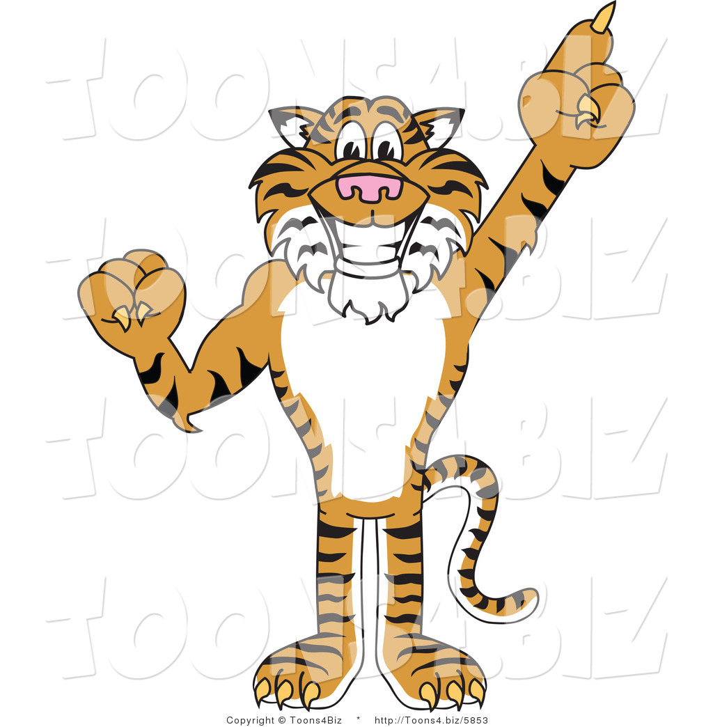 Tiger Mascot Pointing up .