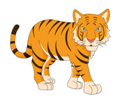 tiger sitting with paws tail clipart. Size: 73 Kb
