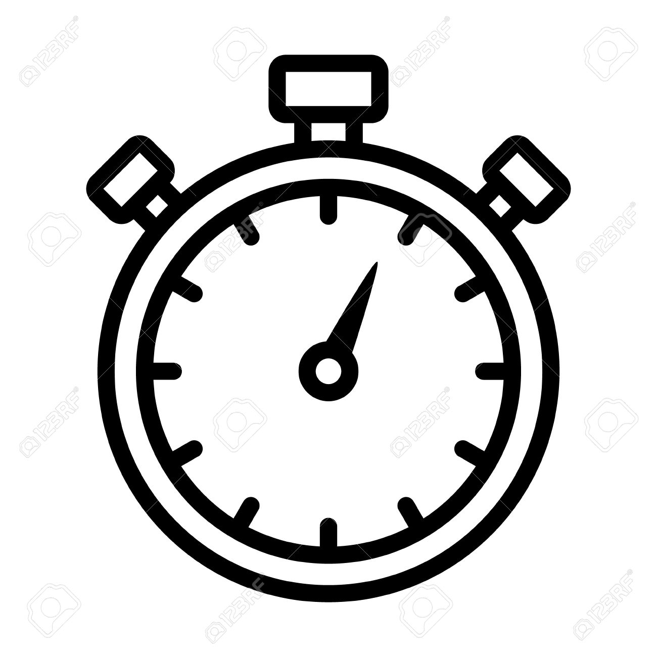 Stopwatch timer line art icon for apps and websites Stock Vector - 49796815