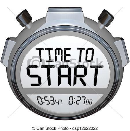 Time To Start Words Stopwatch Timer Clock Stock Illustration