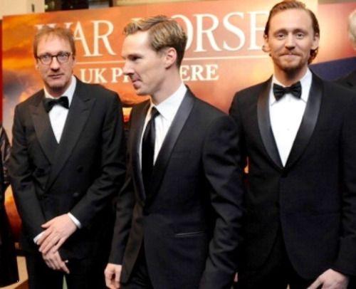 Benedict Cumberbatch With David Thewlis and Tom Hiddleston War Horse  premiere