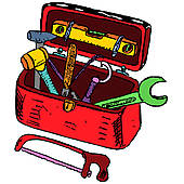 Friendly Mechanic with toolbox givi · Toolbox illustration